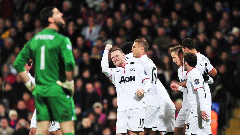 Rooney: celebrates scoring United's second