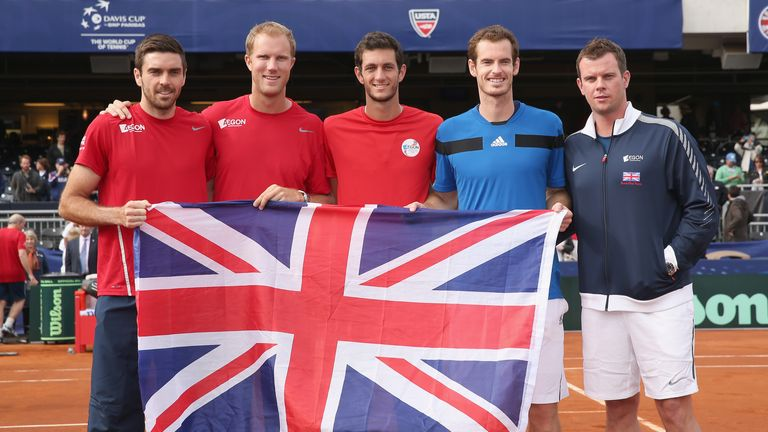 Great Britain's Davis Cup team celebrate in San Diego