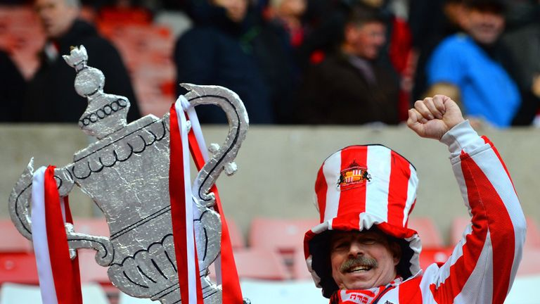 Cup dreams: A Sunderland fan gets in the mood ahead of the fifth round clash with Southampton at the Stadium of Light