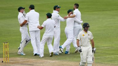 South Africa celebrate as Alex Doolan makes an early exit