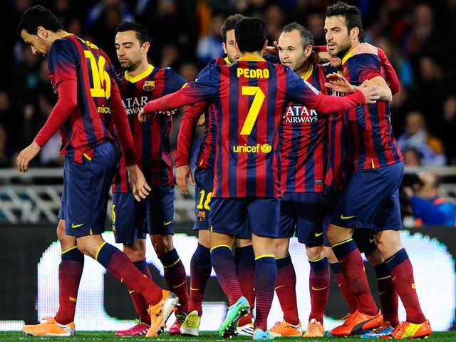 Lionel Messi: Celebrates his opening goal for Barcelona