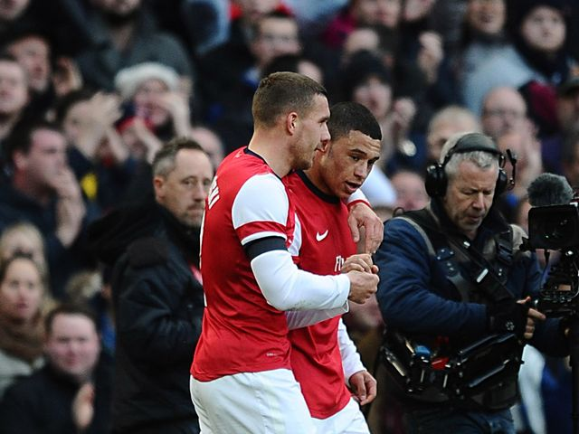 Arsenal's goalscorers Alex Oxlade Chamberlain and Lukas Podolski