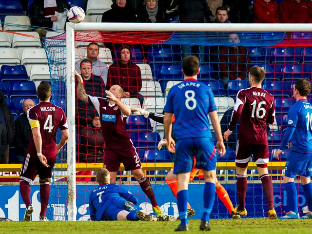 Billy McKay hits the Hearts crossbar