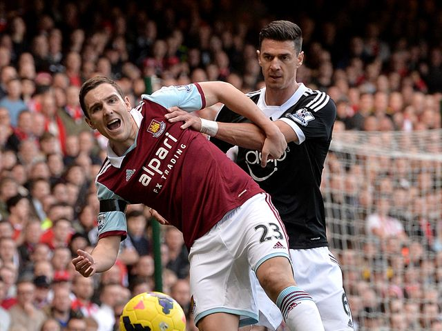 West Ham's Stewart Downing and Southampton's Jose Fonte