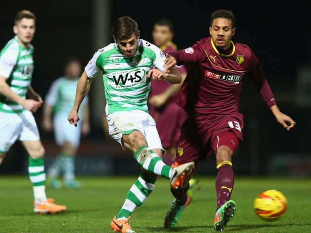 Joseph Edwards of Yeovil has an attempt on goal