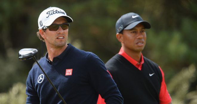 Adam Scott and Tiger Woods: set to tee it up in Florida