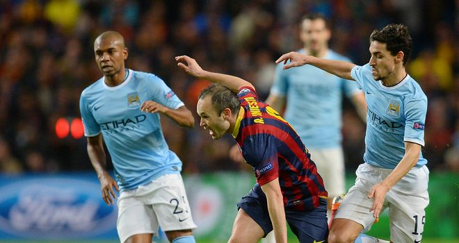 Manchester City did not seem to be outclassed by Barcelona's superstars
