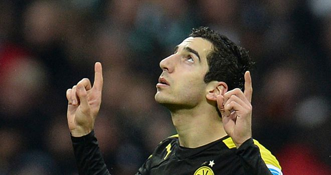 Henrikh Mkhitaryan celebrates for Dortmund