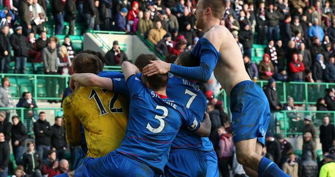 Inverness celebrate their remarkable semi-final victory over Hearts