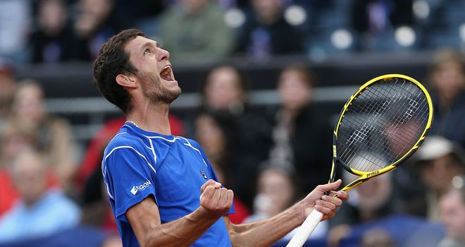 James Ward: British No 2 celebrates his victory over USA's Sam Querrey