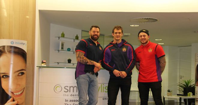 Jordan James, Sean O'Loughlin and Josh Charnley during their trip to Smile Stylist in Manchester