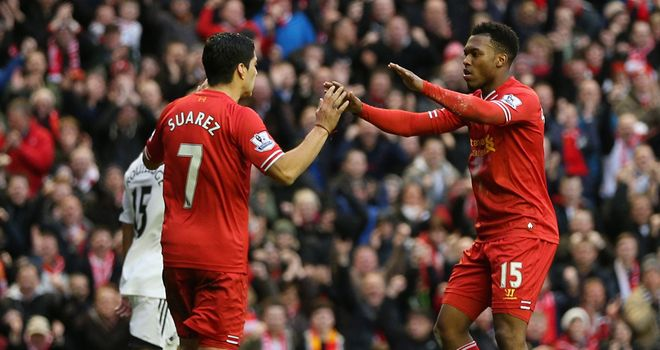 Daniel Sturridge: Celebrates with Luis Suarez after netting against Swansea