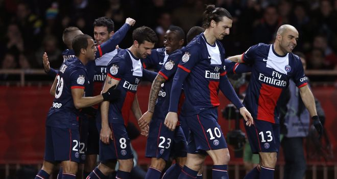 Paris Saint-Germain: Celebrating their goal from Javier Pastore