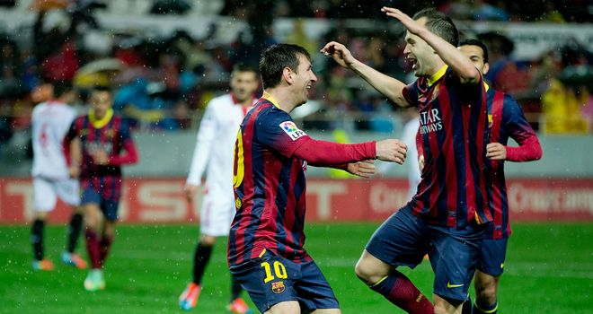 Lionel Messi celebrates after netting in Barca's victory