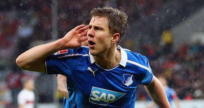 Hoffenheim's Sven Schipplock celebrates a goal