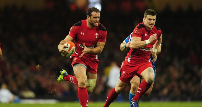 Jamie Roberts breaks through the line, setting up Scott Williams for Wales' second try