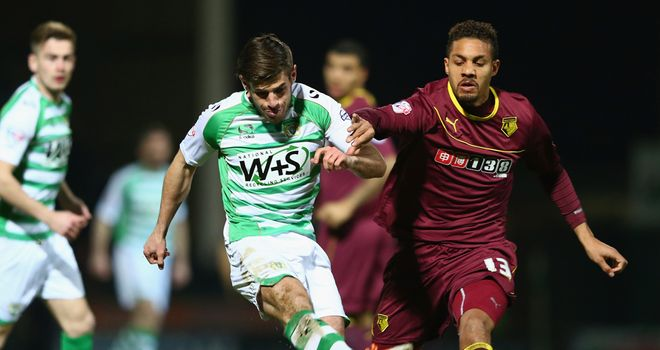 Joseph Edwards (left): Shoots for Yeovil against Watford