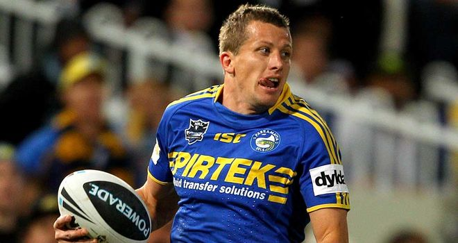 Jordan Atkins: New Broncos signing in action for the Parramatta Eels