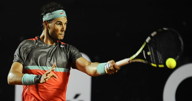 Rafael Nadal returns the ball to Pablo Andujar during the ATP Rio Open 2014