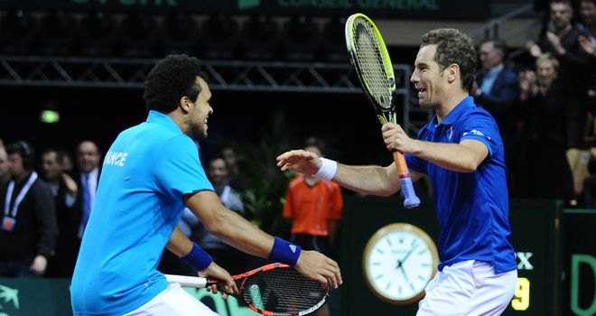 Jo-Wilfried Tsonga and Richard Gasquet celebrate beating Australia