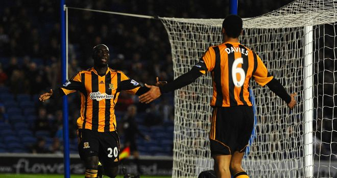Yannick Sagbo: Celebrates the equaliser against Brighton