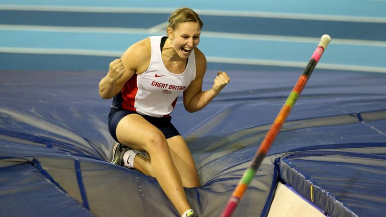 Holly Bleasdale in action in the women's Pole Vault Final Final at the Sainsbury's British Athletics Indoor Championships