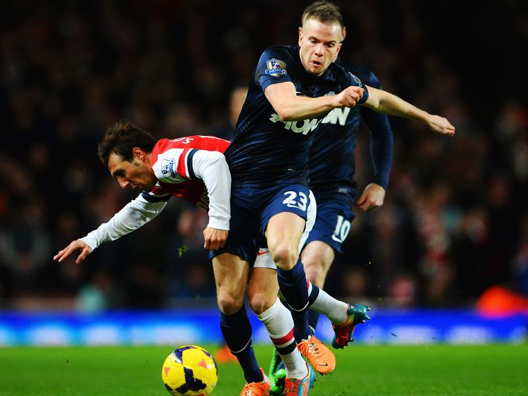 Tom Cleverley: In action against Arsenal