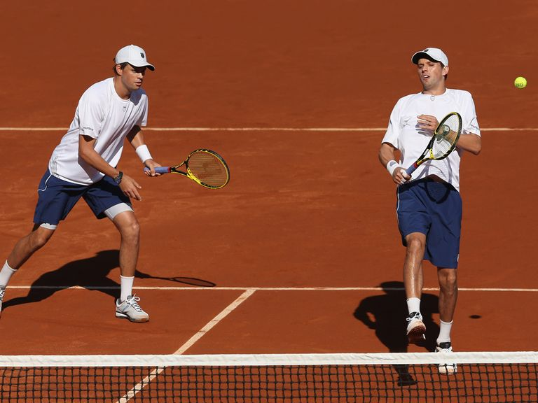Bob And Mike Bryan in action on Saturday