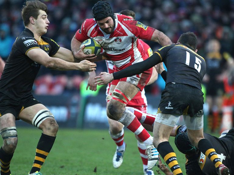 Gareth Evans in action for Gloucester against Wasps