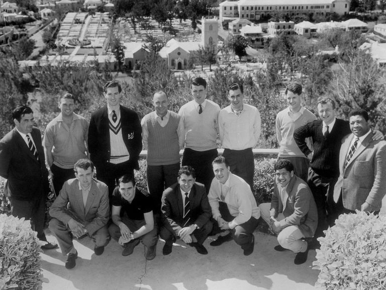 John Mortimore (standing sixth from left) on tour with Gloucestershire