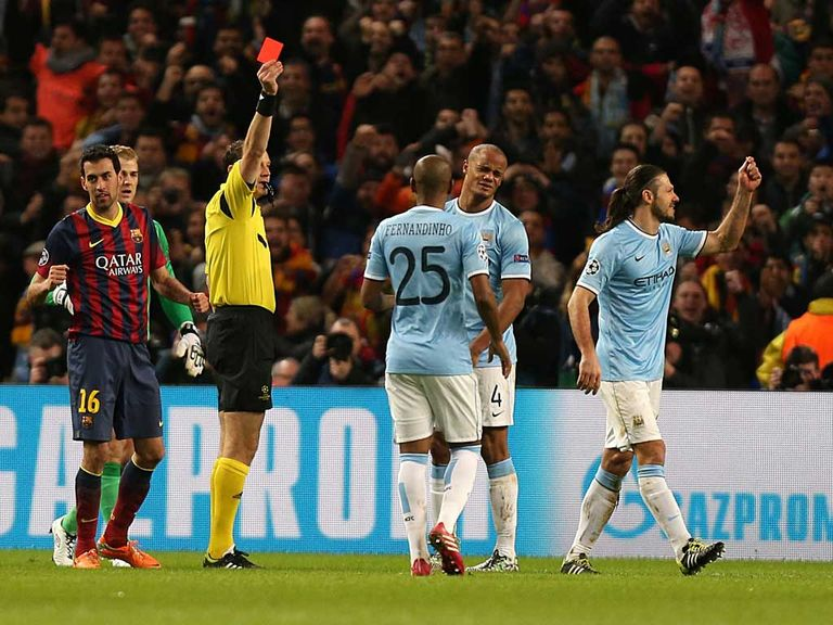 Demichelis was sent off against Barcelona