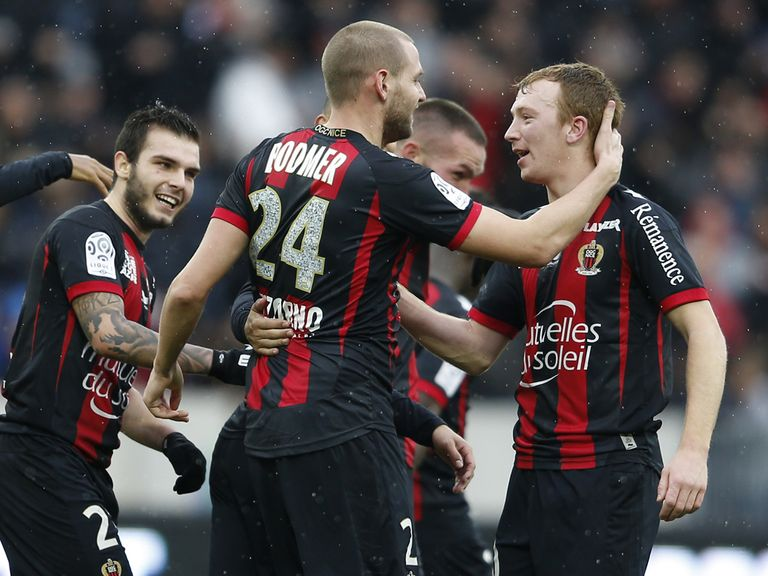 Nice celebrate their winner against Lille
