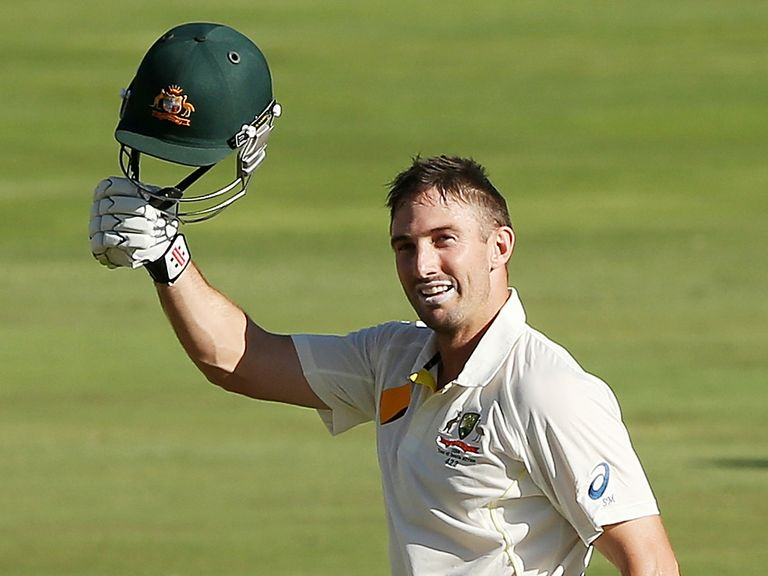 Shaun Marsh celebrates his century