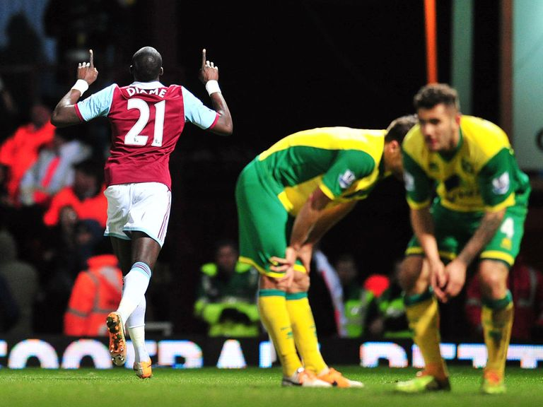 Diame: Celebrates after finding the net against Norwich