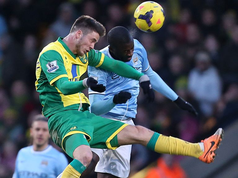 Yaya Toure clashed with Norwich's Ricky van Wolfswinkel