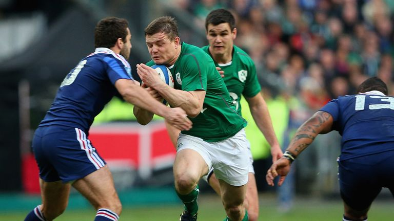 Brian O'Driscoll in action in his final game for Ireland