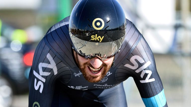 Wiggins finished third in the time trial at Tirreno-Adriatico