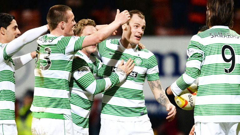 Celtic players celebrate against Partick Thistle