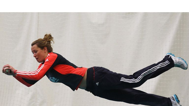 Jodie Dibble in action during fielding practice at Loughborough