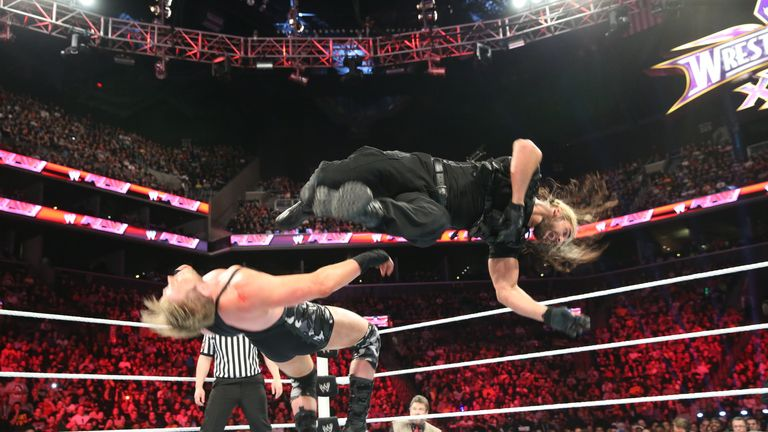 Seth Rollins is wrestling Jack Swagger in this picture, but teamed with him on Main Event