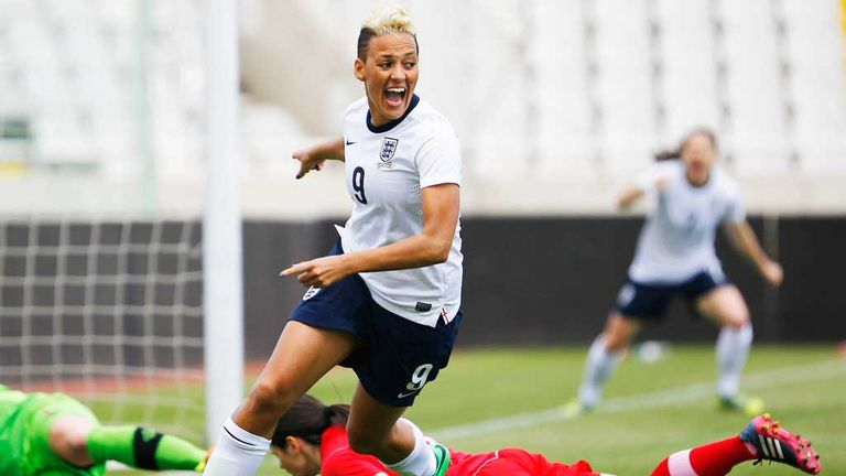 Lianne Sanderson was on target as England thrashed Wales