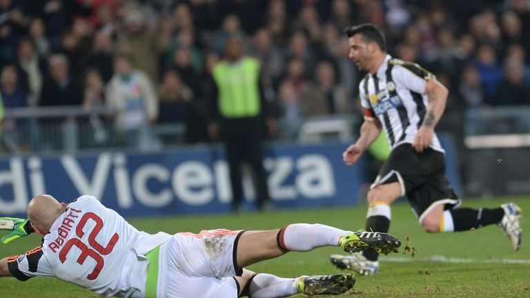 Antonio Di Natale scores the only goal of the game