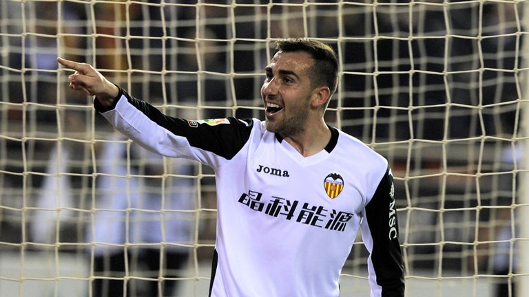 Valencia forward Paco Alcacer celebrates his goal