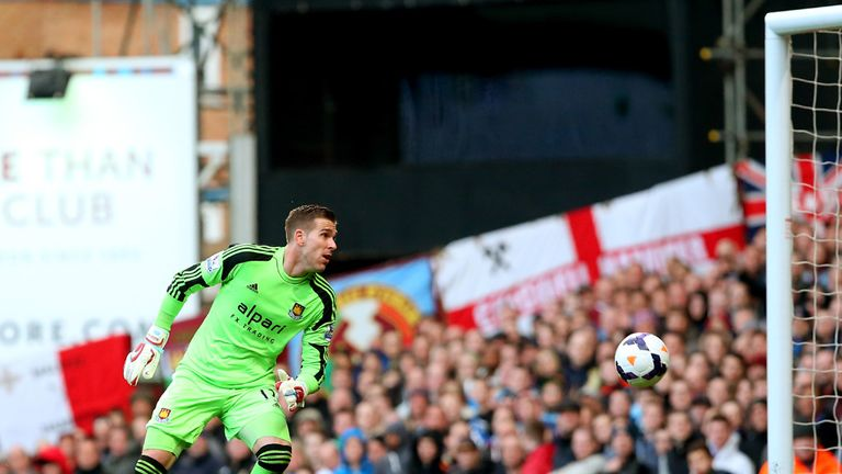 Adrian: Beaten by a spectacular striker from Wayne Rooney