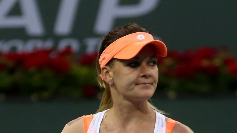 Agnieszka Radwanska celebrates her 6-0 6-0 rout of Annika Beck