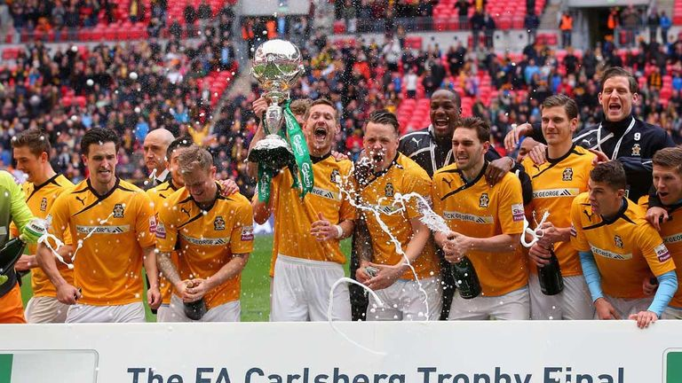 Cambridge: Celebrate their FA Trophy final victory at Wembley