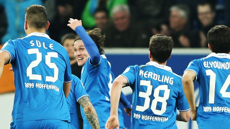 Sebastian Rudy celebrates Hoffenheim's third goal