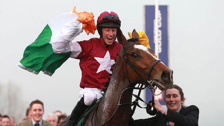 Mikey Fogarty celebrate after Don Poli's victory at Cheltenham