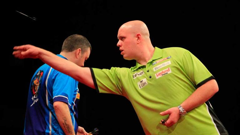 Michael van Gerwen: Dutchman on his way to victory in Barnsley (pic credit: Lawrence Lustig/PDC)