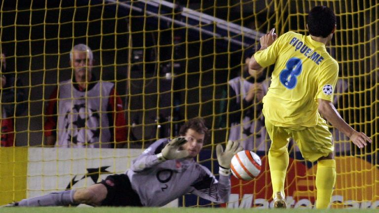 Juan Roman Riquelme sees his spot-kick saved to end Villarreal's European dream in 2006